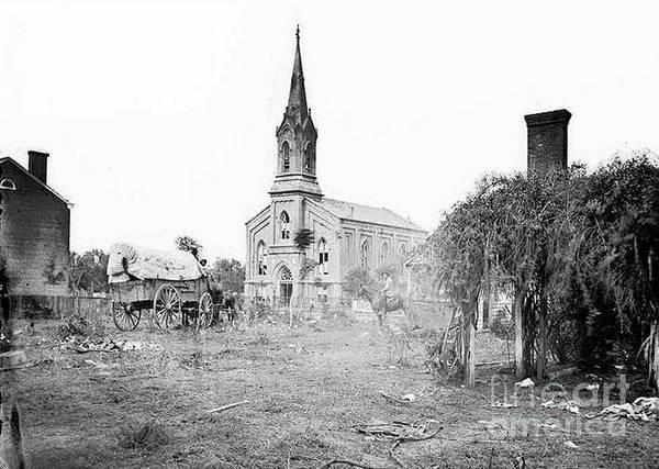 Fredericksburg Baptist Church Poster featuring the photograph Fredericksburg Baptist Church damaged by battles 1864 by David Call