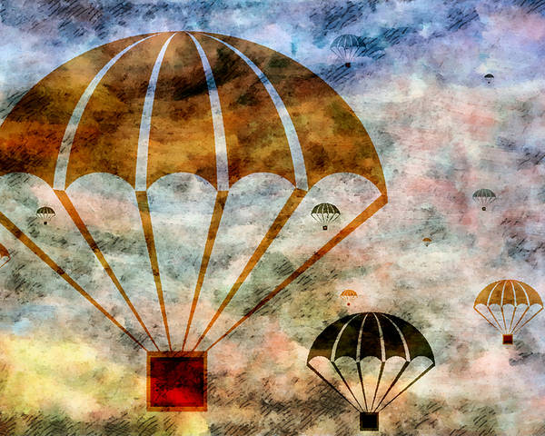 Free Poster featuring the mixed media Free Falling by Angelina Vick