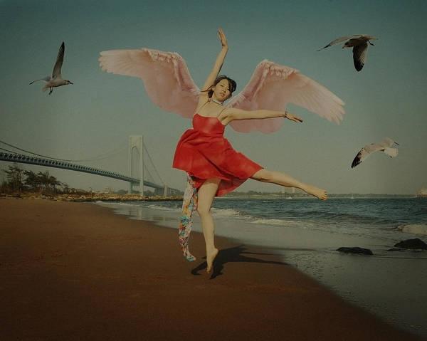 Beach Poster featuring the photograph Free by Mayumi Yoshimaru