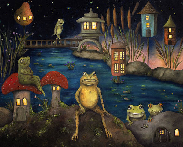 Frog Poster featuring the painting Frogland by Leah Saulnier The Painting Maniac