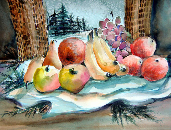 Fruit Poster featuring the painting From My Window by Mindy Newman