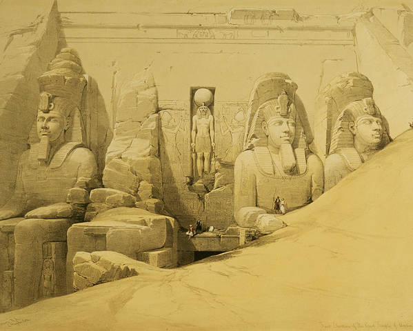 Ruins Poster featuring the painting Front Elevation Of The Great Temple Of Aboo Simbel by David Roberts