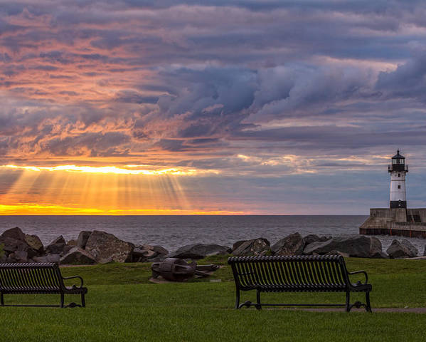 front Row Seats lake Superior canal Park canal Park Lighthouse duluth north Shore Sunrise Dawn Rays god Rays Clouds Benches Lighthouse great Lake Sunset Sunrays Magic Nature Summer perfect Duluth Day mary Amerman Poster featuring the photograph Front Row Seats by Mary Amerman