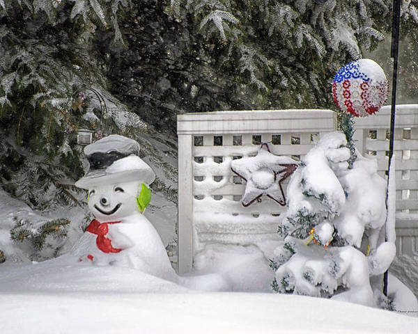 Holiday Card Poster featuring the photograph Frosty The Snow Man by Thomas Woolworth