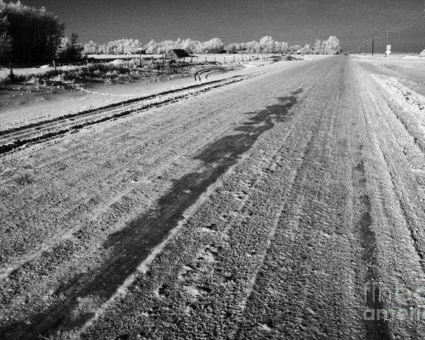 Salt Poster featuring the photograph frozen salt and grit covered rural small road in Forget Saskatchewan Canada by Joe Fox