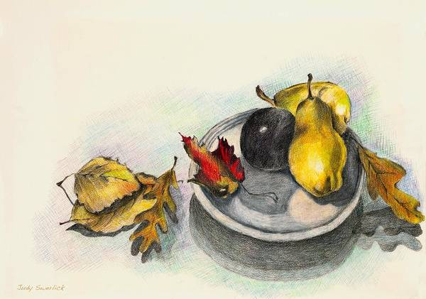 Fruit Poster featuring the drawing Fruit And Autumn Leaves by Judy Swerlick