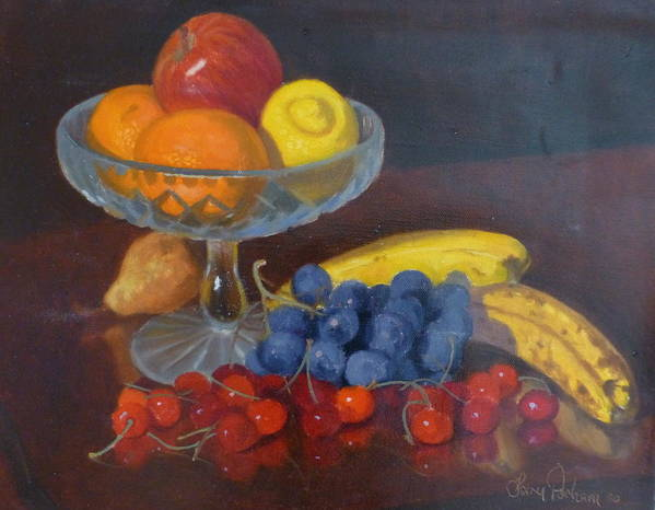 Still Life Poster featuring the painting Fruit And Glass by Terry Perham