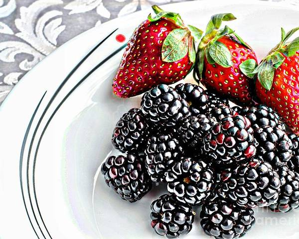 Fruit Poster featuring the photograph Fruit I - Strawberries - Blackberries by Barbara Griffin