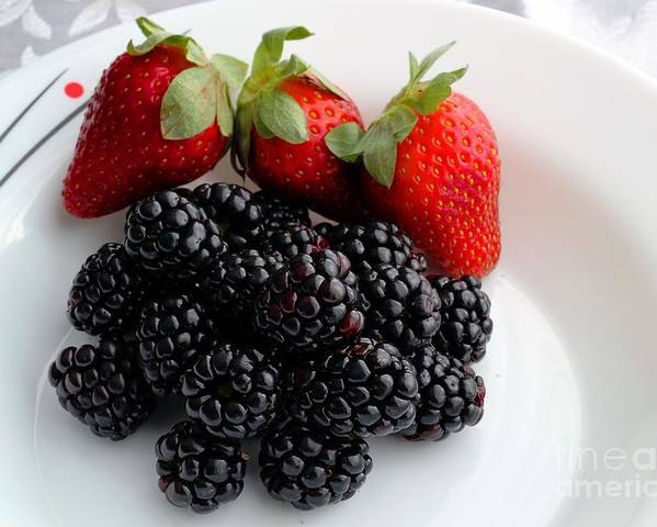 Fruit Poster featuring the photograph Fruit IIi - Strawberries - Blackberries by Barbara Griffin