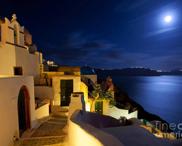 Santorini Poster featuring the photograph Full Moon At Santorini by Aiolos Greek Collections