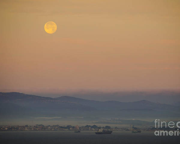 Gibraltar Poster featuring the photograph Full Moon At Sunrise Over Spanish Coast by Deborah Smolinske