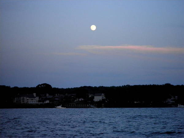 Full Moon Poster featuring the photograph Full Moon Over Narragansett Bay by Kate Gallagher