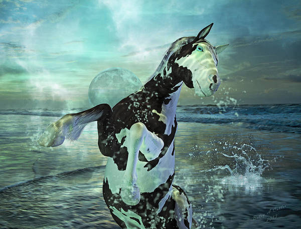 Horse Poster featuring the mixed media Full Moon Twist And Shout by Betsy Knapp