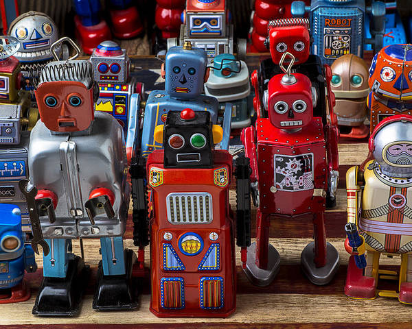 Robots Poster featuring the photograph Fun Toy Robots by Garry Gay