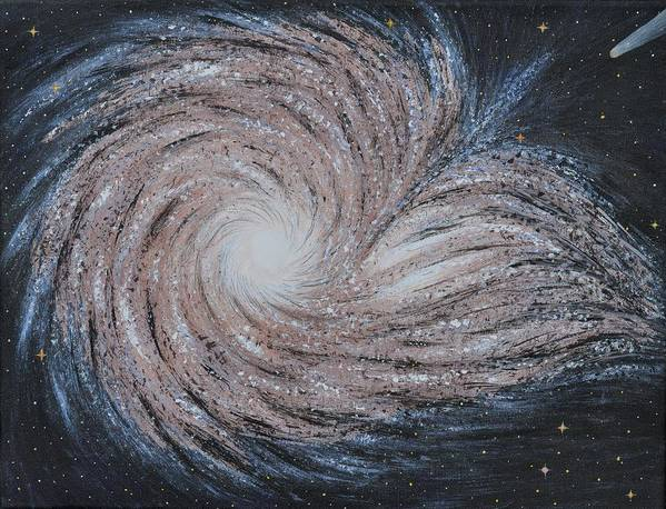 Sky Poster featuring the painting Galactic Amazing Dance by Georgeta Blanaru