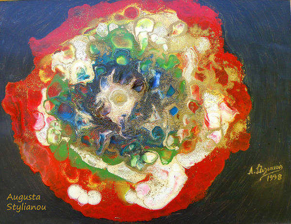 Augusta Stylianou Poster featuring the painting Galaxy With Solar Systems by Augusta Stylianou