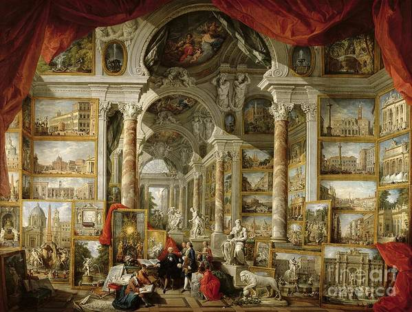 Sculpture Poster featuring the painting Gallery With Views Of Modern Rome by Panini