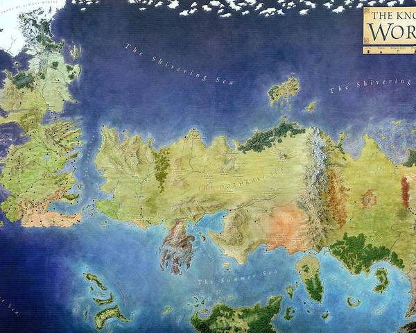 Game of thrones world map poster by gianfranco weiss game poster featuring the painting game of thrones world map by gianfranco weiss gumiabroncs Image collections