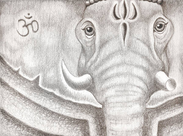 Ganesh Poster featuring the drawing Ganesh by Adam Wood