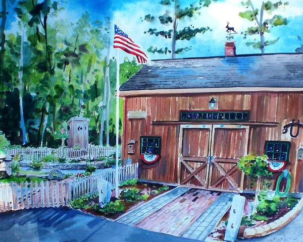 Shed Poster featuring the painting Gardening Shed by Scott Nelson