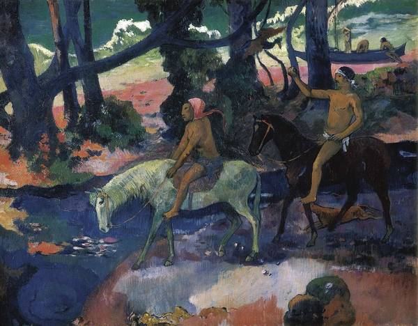 Horizontal Poster featuring the photograph Gauguin, Paul 1848-1903. Ford Running by Everett
