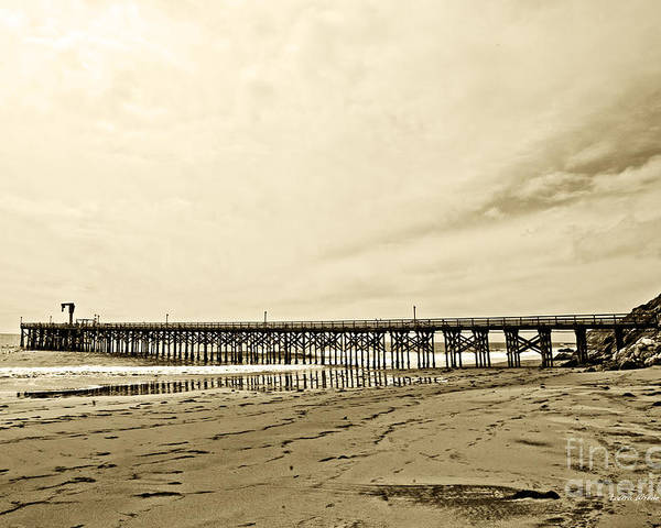 Gaviota Poster featuring the photograph Gaviota Pier In Morning Sepia Tone by Artist and Photographer Laura Wrede