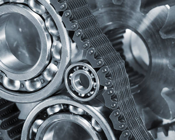 Gears Poster featuring the photograph Gears And Cogs Titanium And Steel Power by Christian Lagereek