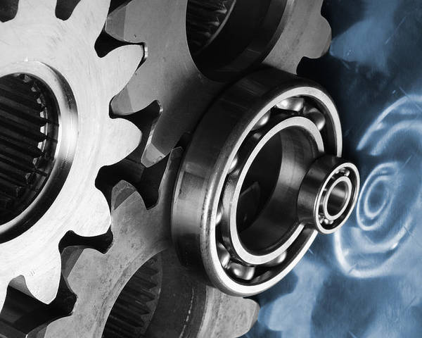 Gears Poster featuring the photograph Gears And Cogwheels Reflection by Christian Lagereek