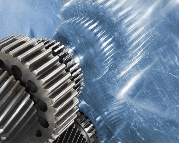 Gears Poster featuring the photograph Gears Industrial Engineering In Blue by Christian Lagereek