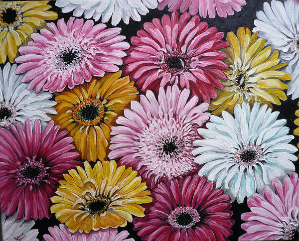 Flower Paintings Daisy Paintings Floral Paintings Blooms Color .gerbera Daisy Paintings Greeting Card Painting S Canvas Painting Poster Print Paintings Poster featuring the painting Gebera Daisies by Karin Dawn Kelshall- Best