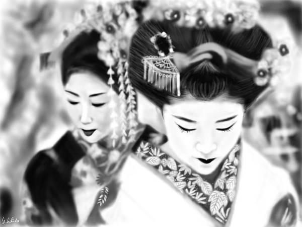 Ipad Poster featuring the painting Geisha No.160 by Yoshiyuki Uchida