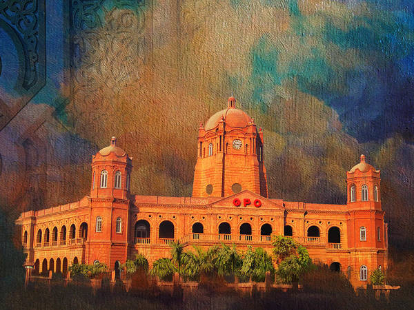 Pakistan Poster featuring the painting General Post Office Lahore by Catf