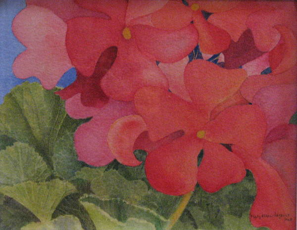 Florals Poster featuring the painting Generium by Mary Ellen Mueller Legault