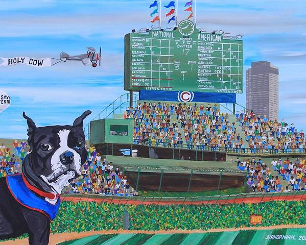 Landscape Poster featuring the painting Geno At Wrigley 2014 by Mike Nahorniak