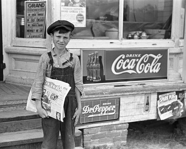 1938 Poster featuring the photograph Georgia Newsboy, 1938 by Granger