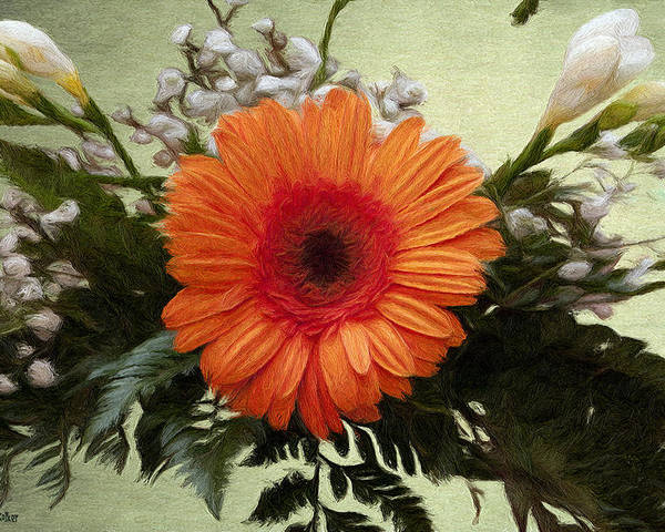 Arrangement Poster featuring the painting Gerbera Daisy by Jeff Kolker