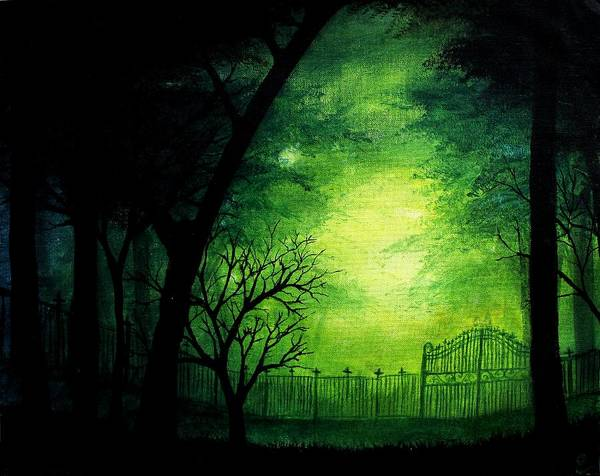 Halloween Poster featuring the painting Ghastly Gate by Erin Scott