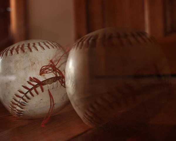 Baseball Poster featuring the pyrography Ghost Baseball by Emily Newby