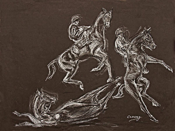 Rearing Horse Poster featuring the drawing Ghost Riders In The Sky by Tom Conway
