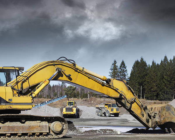 Bulldozer Poster featuring the photograph Giant Bulldozers In Action by Christian Lagereek