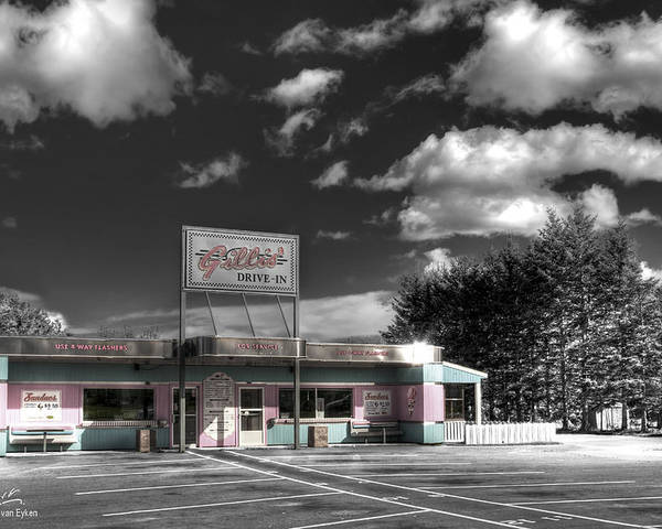 Retro Poster featuring the photograph Gillis' Drive-in by Elisabeth Van Eyken