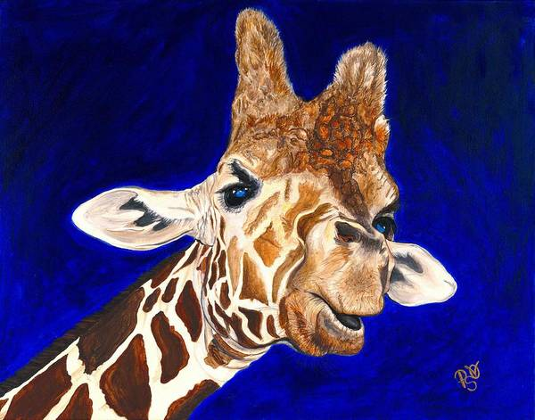 Giraffe Poster featuring the painting Giraffe by Patty Vicknair