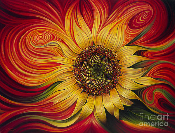 Sunflower Poster featuring the painting Girasol Dinamico by Ricardo Chavez-Mendez
