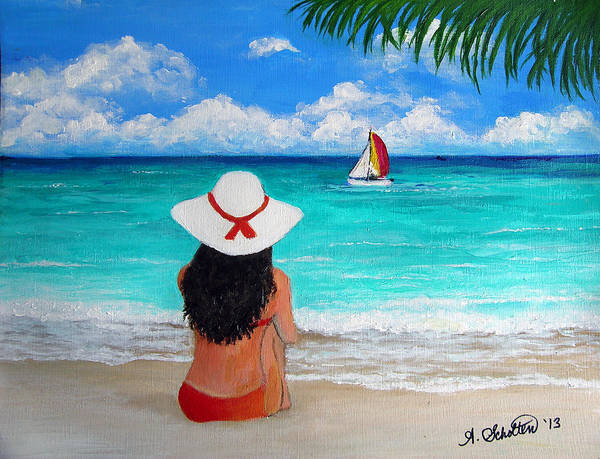 Girl Poster featuring the painting Girl On A Turquoise Beach by Amy Scholten