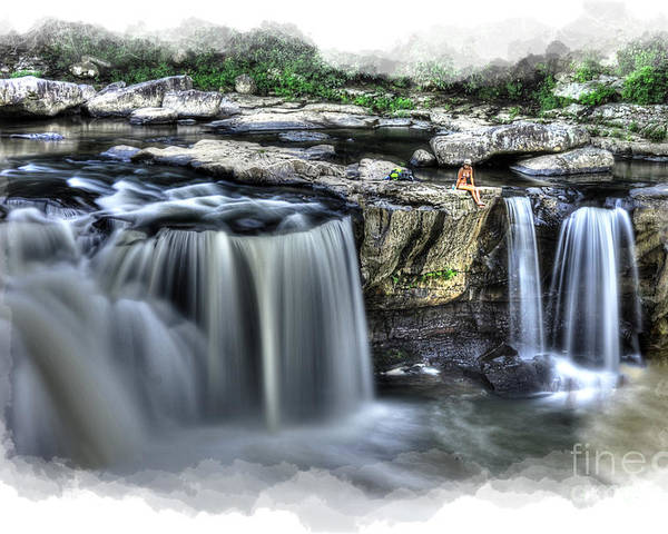 Girl Poster featuring the photograph Girl On Rock At Falls by Dan Friend