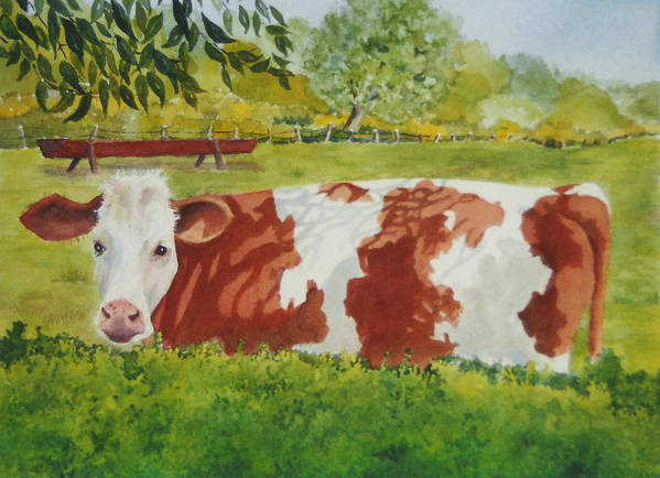 Cows Poster featuring the painting Give Me Moooore Shade by Mary Ellen Mueller Legault
