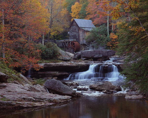 Glade Poster featuring the photograph Glade Creek Grist Mill In Autumn by Jetson Nguyen