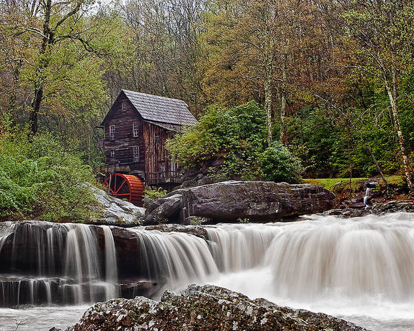 Grist Mill Poster featuring the photograph Glade Creek Waterfall by Marcia Colelli
