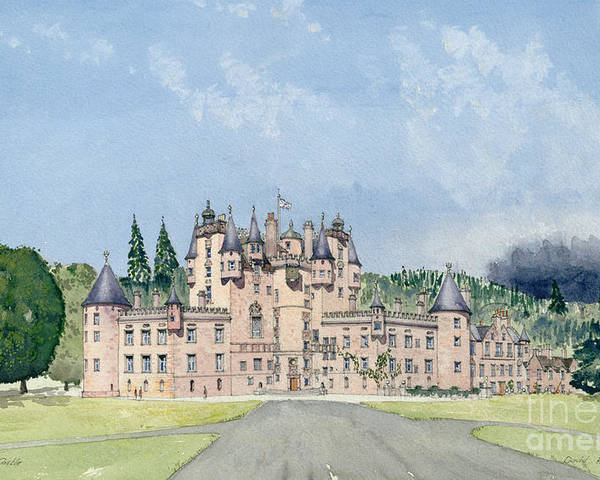 Landscape; Royal Residence Poster featuring the painting Glamis Castle Tayside by David Herbert