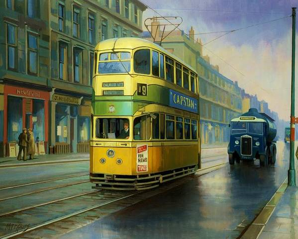 Transportation Poster featuring the painting Glasgow Tram. by Mike Jeffries